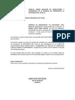 Relacion de Flota Vehicular de La Empresa de Tranportes La Natividad Sociedad de Responsabilidad Limitada Srl r