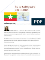 U.S. Seeks to Safeguard Progress in Burma