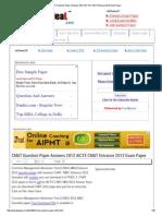 CMAT Question Paper Answers 2012 AICTE CMAT Entrance 2012 Exam Paper