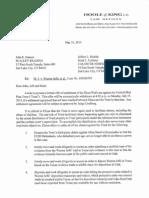 Elissa Wall Settlement Offer Letter to Callister Nebeker & McCullough May 31, 2013