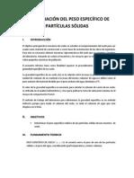 Determinación Del Peso Específico de Partículas Sólidas