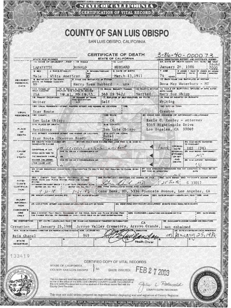 Offiical death certificate and sheriff coroners autopsy report on offiical death certificate and sheriff coroners autopsy report on l ron hubbard autopsy will and testament xflitez Image collections