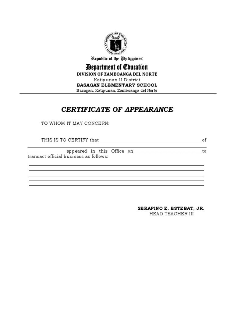 Certificate of appearance yadclub Images