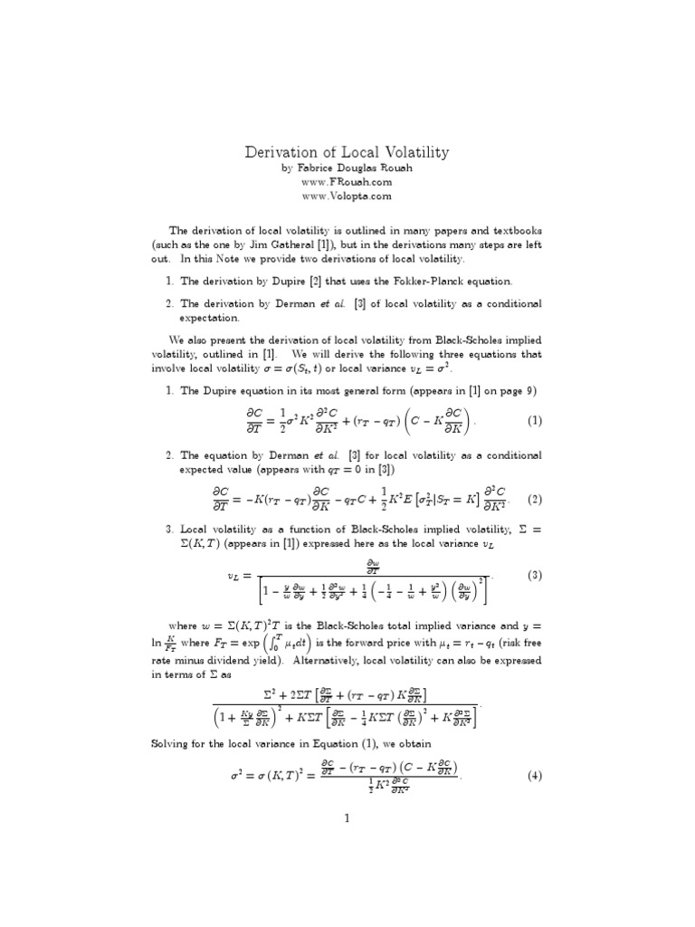 Dupire Local Volatility | Black–Scholes Model | Volatility