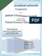 Method of Performance Apraisal