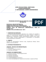 PROGRAMA DE ANÁLISE MATEMÁTICA