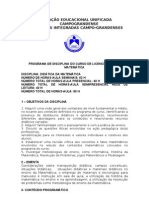 PROGRAMA DE DIDÁTICA DA MATEMÁTICA