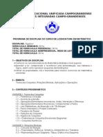 PROGRAMA DE DISCIPLINA- ÁLGEBRA I