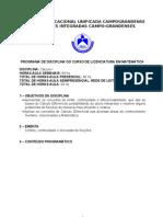 PROGRAMA DE DISCIPLINA- CÁLCULO I