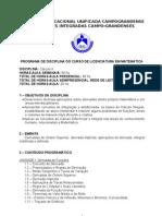 PROGRAMA DE DISCIPLINA- CÁLCULO II
