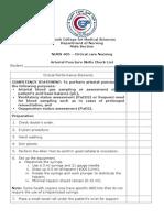Arterial Puncture Checklist