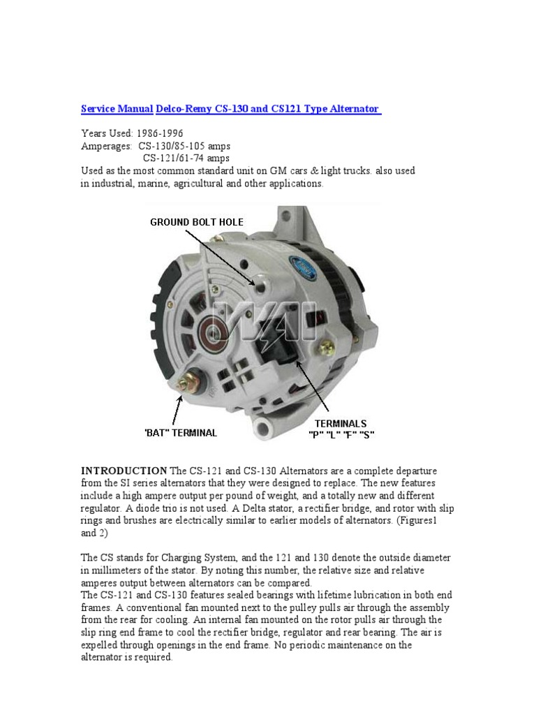 Delco Cs Alternator Wiring Diagram : Service manual delco remy cs