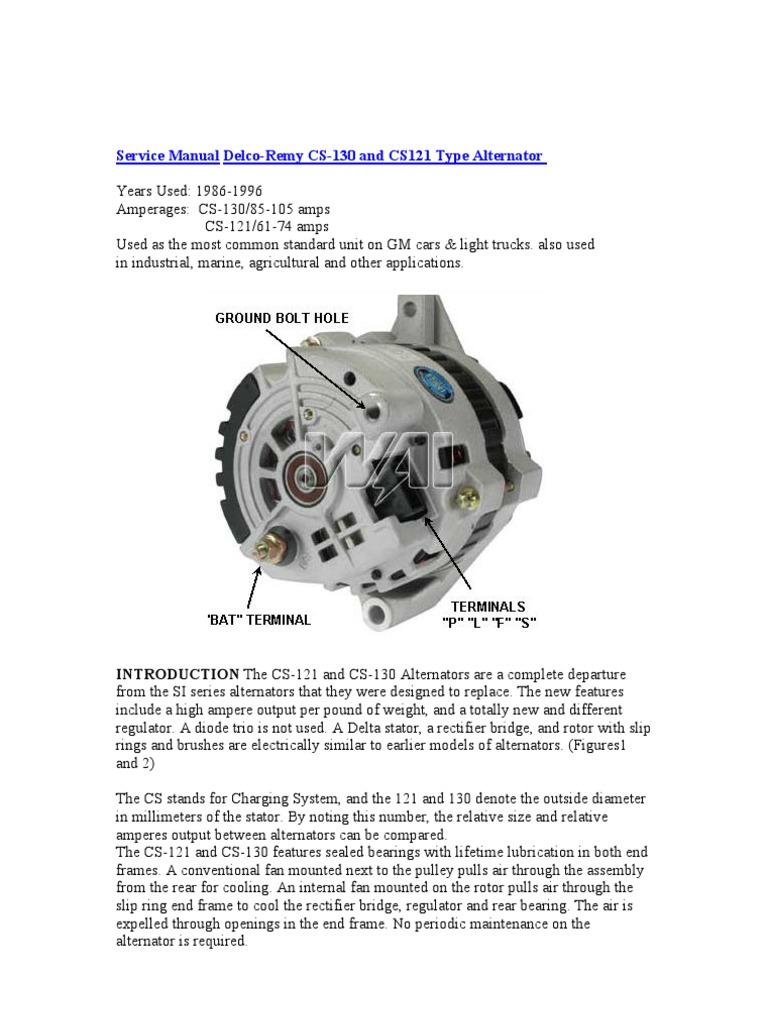 service manual delco remy cs 130 voltage rectifier rh scribd com CS121 Alternator 3G Alternator