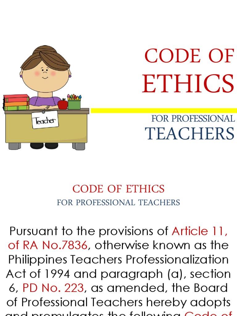 Code Of Ethics For Teachers Ppt