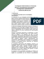 Normas y Procedimientos Para Realizar Investigaciones Administrativas