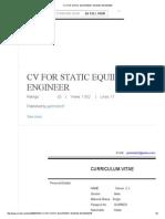 Cv for Static Equipment Design Engineer