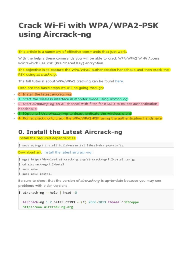 Crack Wi-Fi With WPA_WPA2-PSK Using Aircrack-ng | Wi Fi
