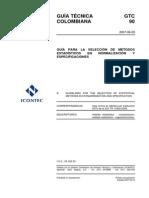 Gtc 90 Guía Para La Selección de Métodos Estadísticos en Normalización y Especificaciones- 20070829
