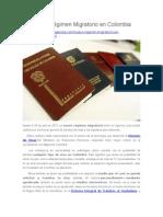 Nuevo Régimen Migratorio en Colombia