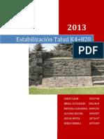 TRABAJO TALUDES K4+820