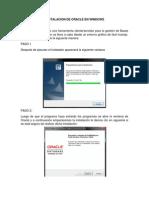Iinstalacion de Oracle en Windows