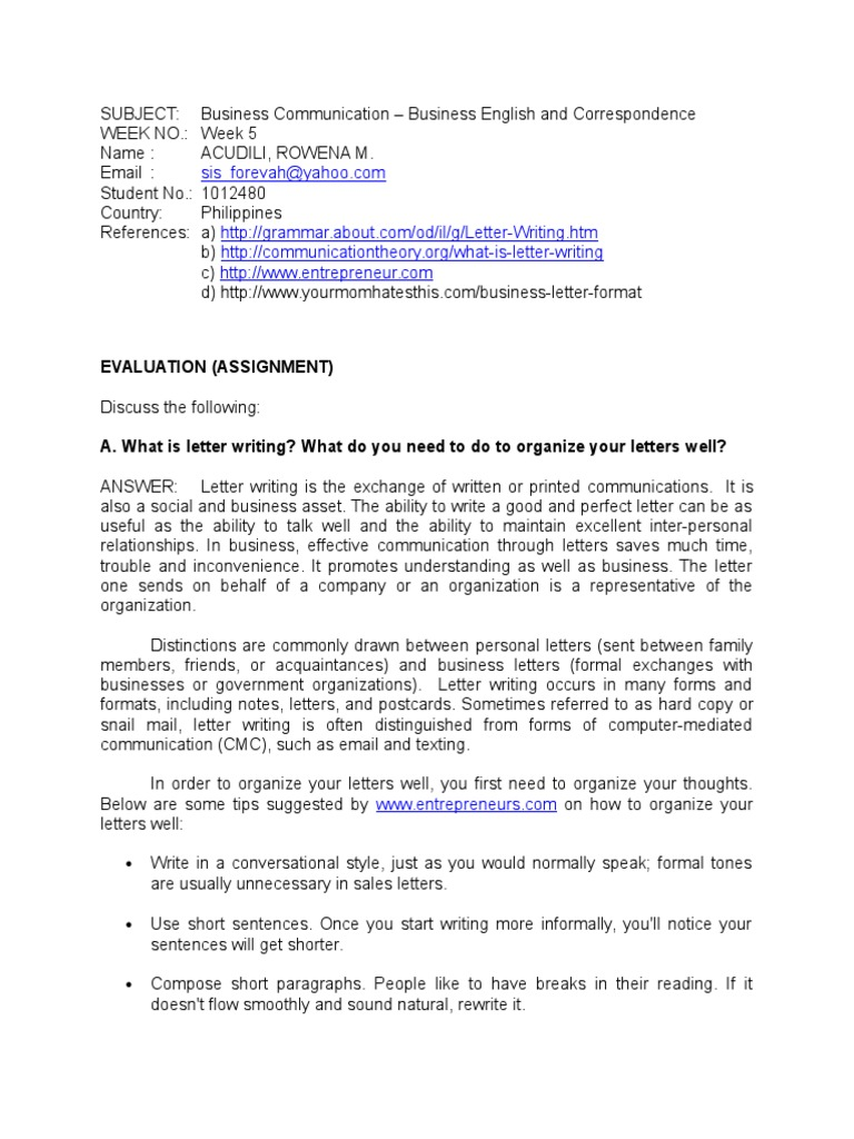 Bus Comm Week 05 Assignment Doc Text Writing