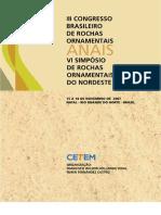 III Congresso Brasileiro de Rochas Ornamentais e Do VI Simposio de Rochas Ornamentais Do Nordeste