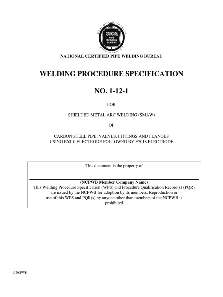 WPS | Welding | Pipe (Fluid Conveyance)