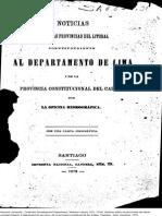 Noticias Sobre Las Provincias Del Litoral Correspondiente Al Departamento de Lima i de La Provincia Constitucional................... (1879)