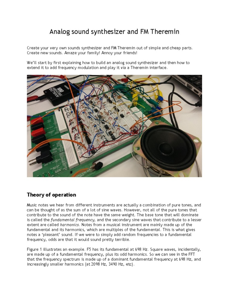 Creating An Analog Sound Synthesizer And Fm Theremin Harmonic Figure 1 Block Diagram For The Circuit Amplifier