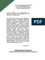 Fourth Impeachment Complaint vs. President Aquino