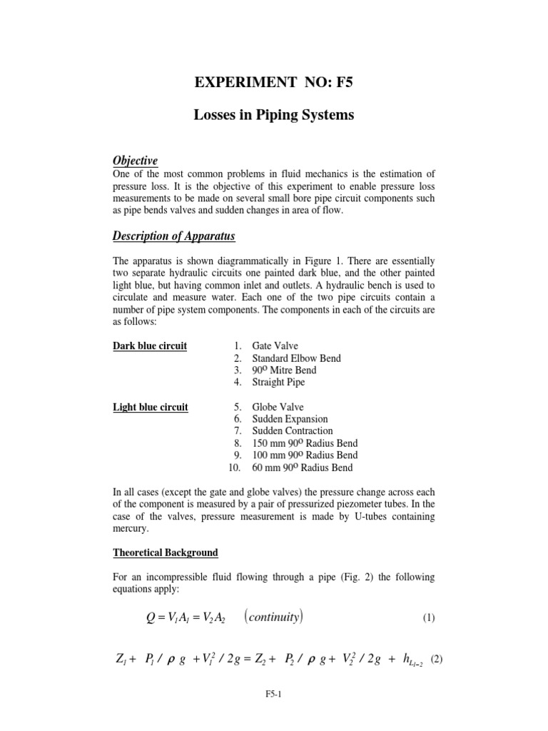 fluid friction in a smooth bore pipe lab report