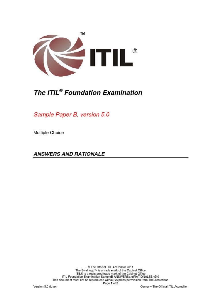 Itil Foundation Examination Sampleb V51 Answ 20120731 Itil