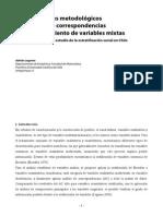- 1 - Inconvenientes metodológicos del análisis de correspondencias para el tratamiento de variables mixtas Soluciones aplicadas al estudio de la estratificación social en Chile