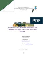 Reforma Agraria- Derechos Agricultor -Propiedad- Afectación de Baldíos y Ejidos