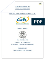 "A PROJECT REPORT ON ""COMPANY OVERVIEW"" AT GUJARAT ALKALIES AND CHEMICALS LTD."