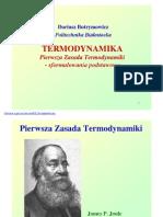 Pierwsza Zasada Termodynamiki - Sformulowanie podstawowe