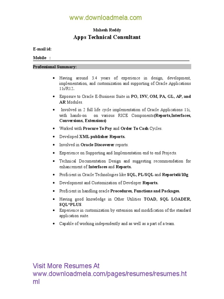 Application Developer Resume Samples Scribd
