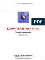 Know Your Own Mind - Personality Questionaire