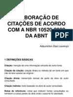 Elaboração de Citações de Acordo Com a Nbr 10520(Nego)