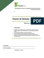 Exame de Selecao 2013 - Sem Respostas