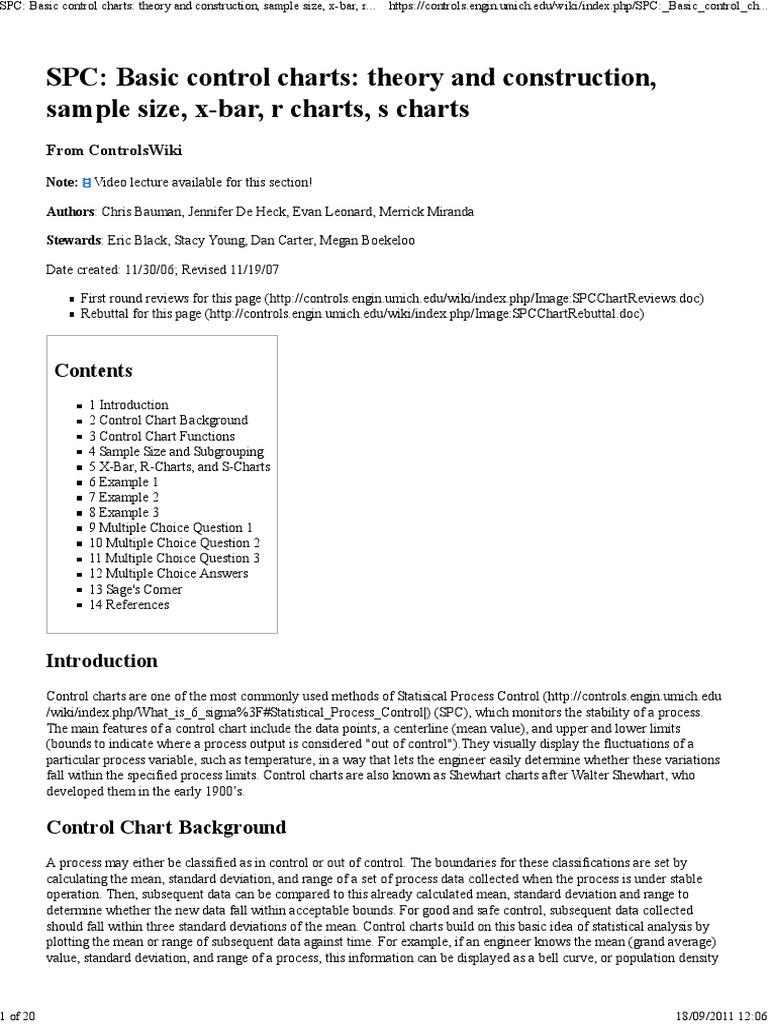 Quality Control, Basic Control Charts | Standard Deviation
