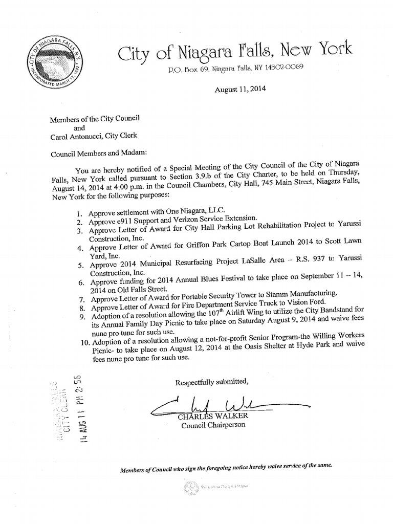 Niagara Falls City Council Special Meeting For Aug 14 2014