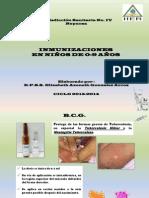 Inmunizaciones en niños de 0-9 años de edad