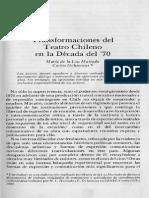 Transformaciones Del Teatro Chileno en La Década Del 70. María de La Luz Hurtado