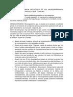 Origen e Importancia Patológica de Los Microorganismos Presentes en Los Productos de Consumo