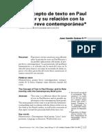 ART -Juan Camilo Suarez- El Concepto de Texto en Paul Ricoeur y Su Relación Con La Lírica Breve Contemporánea