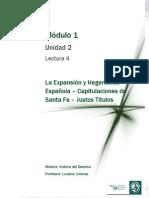 Lectura 4 - La Expansión y Hegemonía Española - Capitulaciones de Santa Fe - Justos Títulos