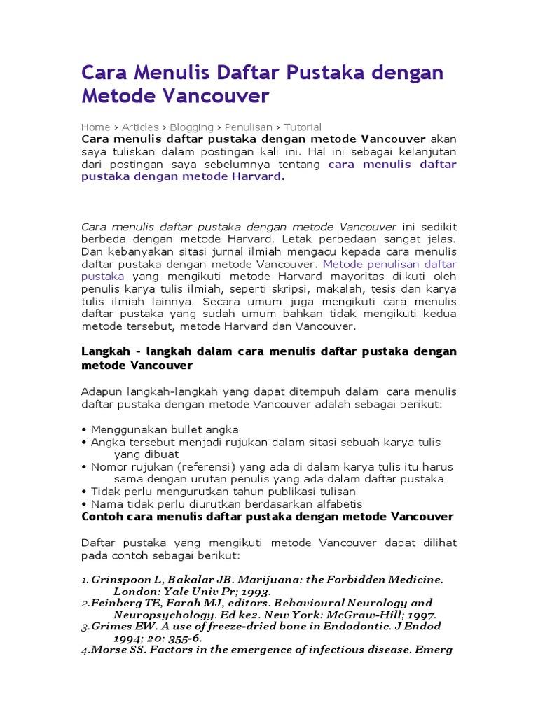 Cara Menulis Daftar Pustaka Dengan Metode Vancouver
