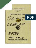 General Radio 1217-A Unit Pulser Manual Data